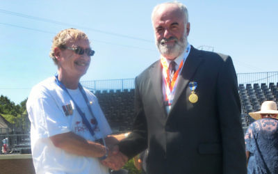 Peter Allen with Lambis Englezos at the ceremony in Fromelles, France on July 19.