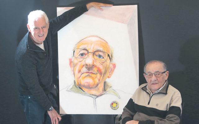 Artist Jeffrey Kelson with 94-year-old Holocaust survivor Moshe Fiszman and his portrait. Photo: Yuri Kouzmin
