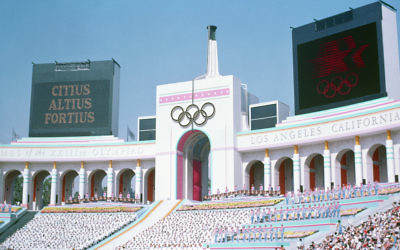 Olympic Torch Tower of the Los Angeles Coliseum  during the opening ceremony of the 1984 Summer Olympics.