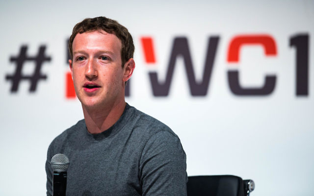 Founder and CEO of Facebook Mark Zuckerberg speaking Mobile World Congress 2015 at the Fira Gran Via complex in Barcelona, Spain.