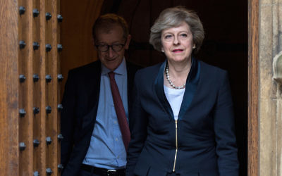 Britain's Prime Minister Theresa May, with her husband Philip. The British government is set to adopt a new definition of anti-Semitism. Photo: Chris Ratcliffe/AFP/Getty Images