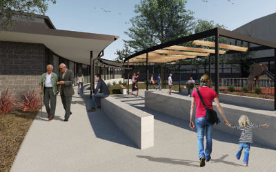 An artist's impression of the courtyard looking back at the proposed new ACT Jewish Community building.