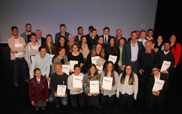 All together now: Winners, nominees and officials at the 2016 Jewish Changemaker Awards, held at Sydney's Emanuel School on July 31. Photo: Shane Desiatnik.