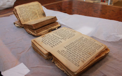 Siddurs that belonged to Auschwitz survivors Rabbi Benjamin Gottshall and Jana Prager, who met and married after the war. The prayer books will be displayed side-by-side in the Sydney Jewish Museum's new permanent exhibition about the Holocaust.