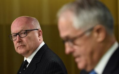 Attorney General George Brandis with Malcolm Turnbull. Photo: AAP Image.