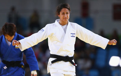 Yarden Gerbi of Israel celebrating her victory over Miku Tashiro of Japan in the women's bronze medal judo bout at the Olympic Games in Rio de Janeiro.