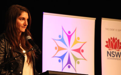 Jewish representative Ashleigh Werner speaking at the 2016 Youth PoWR interfaith conference. Photo: Shane Desiatnik