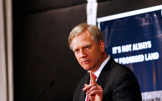 Andrew Bolt speaking at the WIZO Victoria breakfast last week. Photo: Peter Haskin.