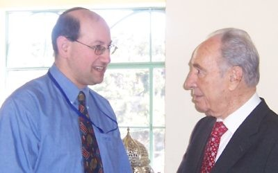 AIJAC's Jeremy Jones (left) met Shimon Peres in Jerusalem in 2007.
