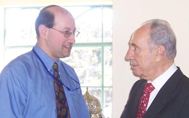 AIJAC's Jeremy Jones (left) met Shimon Peres in Jerusalem in 2007.