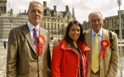Naz Shah, center, was suspended from the British Labour Party on April 27, 2016. (JTA)