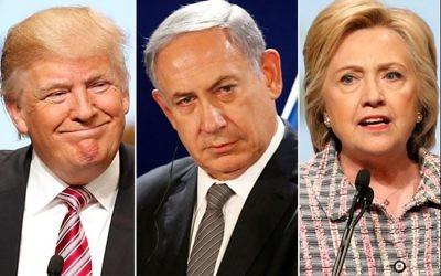 Donald Trump, Benjamin Netanyahu and Hilary Clinton. (Photo: REUTERS)