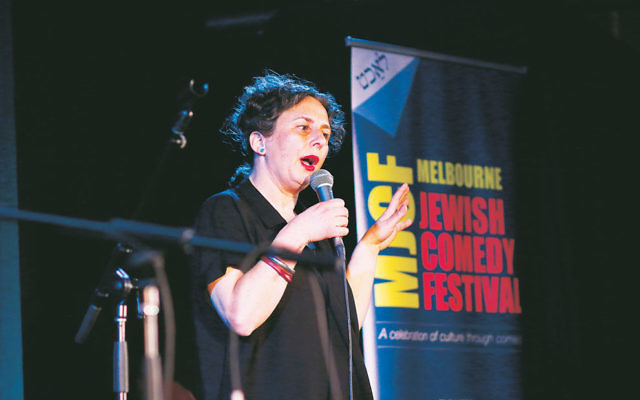 Festival creative director Justine Sless doing stand-up at the Melbourne Jewish Comedy Festival. Photo: Peter Haskin