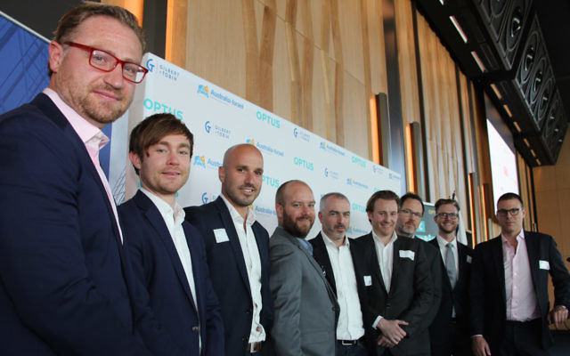 Back from Austrade's Tel Aviv Landing Pad: FlashFX co-founder Nicolas Steiger, Valient Finance co-founder Ritchie Cotton, Manner co-founder Simon O'Dell, Phriendly Phishing general manager Damian Grace, Meeco chief operating officer Mike Page, CapitalPitch co-founder Jeremy Liddle, FlashFX co-founder Michael O'Sullivan, Ryan Smith from the Department of Premier and Cabinet, and Sail Funding CEO and founder Yanir Yakutiel. Photo: Shane Desiatnik
