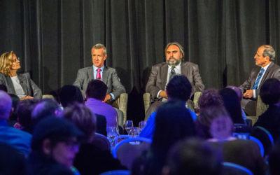 Associate Professor Leanne Piggott, Peter Hartcher, Anthony Bubalo and panel host Vic Alhadeff at the 2016 Graf Oration at Sydney's Shangri-La Hotel on September 26. Photo: Jack Hochfeld.