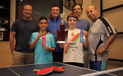 Front: 2016 Maccabi NSW Table Tennis Club Junior Championships runner-up Coby New (left) and winner Luca Calderon-Havas. Back row: David New, club coach Guy Fainbloom, Petrie Calderon and club president Danny Beran. Photo: Shane Desiatnik