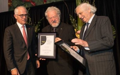 Sam Lipski (centre) and Geoffrey Blainey (right) receiving their awards from Prime Minister Malcolm Turnbull. Photo: Andrew Taylor