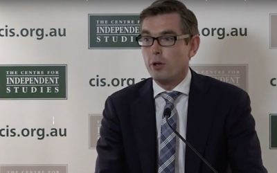 NSW Finance Minister Dominic Perrottet speaking at the Centre for Independent Studies' Leaders Lunch. Photo: YouTube screenshot