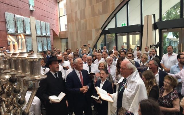 Malcolm Turnbull (second from left) at Sydney's Central Synagogue on Friday.