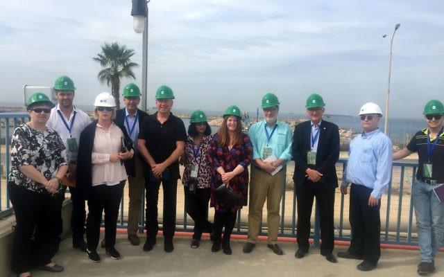 AICC Agri-food mission members at a desalinisation facility in Israel in late November, with delegation head Peter Shutz (third from right).