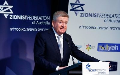 Mitch Fifield addressing the ZFA conference in Melbourne on Sunday. Photo: Peter Haskin