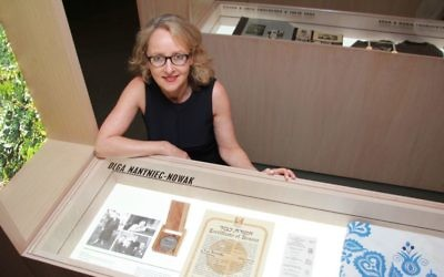 Sydney Jewish Museum curator Roslyn Sugarman at the display about Righteous Among the Nations member Olga Nanyniec-Nowak, at the new exhibition: I Am My Brother's Keeper. Photo: Shane Desiatnik