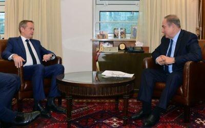 Bill Shorten meeting Benjamin Netanyahu in Jerusalem this week.