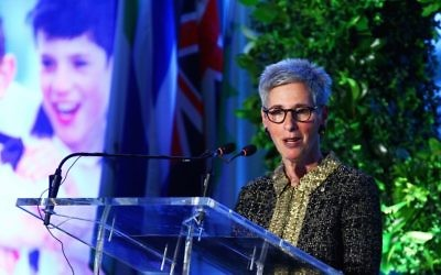 Linda Dessau speaks at Maccabi Australia's 90th anniversary event. The Victorian Governor has been made a Companion of the Order of Australia. Photo: Peter Haskin