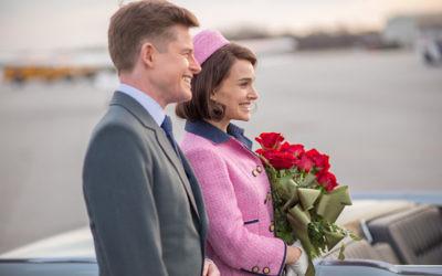 Natalie Portman stars as Jackie Kennedy in Jackie, pictured with Peter Saarsgard as Robert F Kennedy.