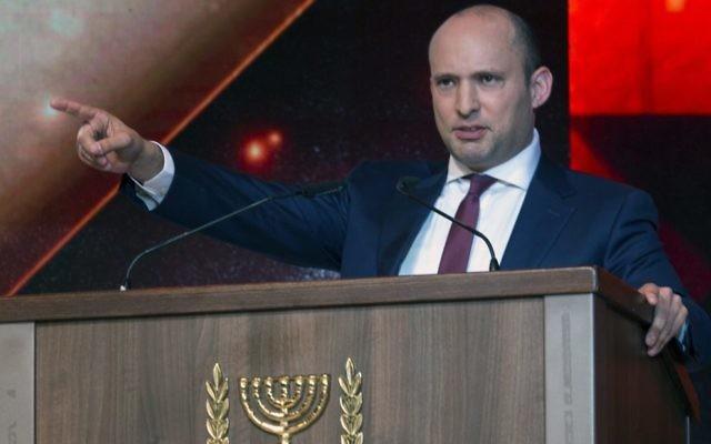 Naftali Bennett responding to John Kerry's speech last week. Photo: EPA/Jim Hollander