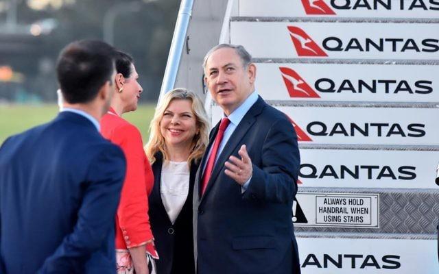Sara and Benjamin Netanyahu arriving in Sydney in 2017. Photo: Noel Kessel