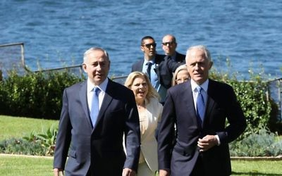 Benjamin Netanyahu (left) and Malcolm Turnbull in Sydney. Photo: Noel Kessel