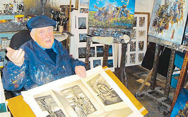 Artist Yosl Bergner in his Tel Aviv studio.