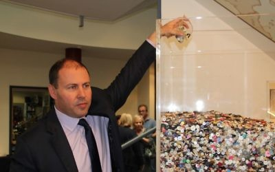 Josh Frydenberg MP at the launch of Bialik College's Button Project installation. Each button represents a child killed in the Holocaust.