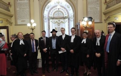 From left: Janine Wald, barrister; John Pesutto, Victorian Shadow Attorney-General; Ben Carroll, Victorian Parliamentary Secretary for Justice; Rabbi Dovid Gutnick; Raph Ajzensztat, barrister; Nic Cozens, barrister; Annette Charak, barrister; Ian Waller, QC; and Justice Mark Moshinsky of the Federal Court of Australia.