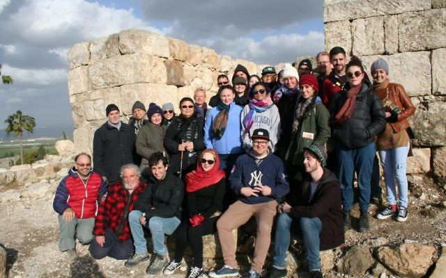 Dr Gil Davis (on left) at Megiddo in Israel with students doing the inaugural Biblical Achaeology course offered by Macquarie University and the Hebrew University of Jerusalem.