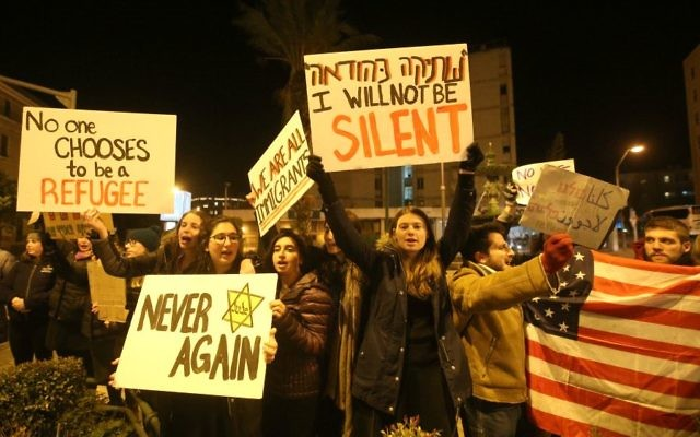 American Jews protest Trump's refugee ban, Washington Square Park, New York.