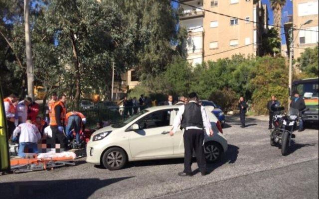 Shooting on Hagiborim street in Haifa, January 3, 2017. (photo credit:EFFY SCHNAPPER/ MDA)