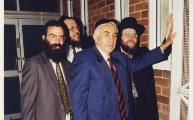 In happier times at Yeshiva . . . Harry Triguboff (centre front) flanked by Rabbi Dovid Slavin on his right, Rabbi Pinchus Feldman on his left, and Rabbi Yaakov Lieder at the back.