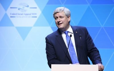 Stephen Harper speaking at the UIA Australia campaign gala event on February 27. Photo: Giselle Haber