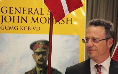 Michael Bennett, great-grandson of General Sir John Monash, at the NSW launch of the Saluting Monash Council's national campaign on March 8. Photo: Shane Desiatnik
