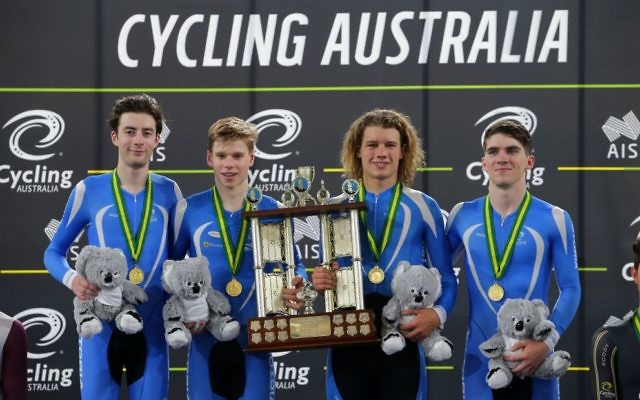 Riley Hart (far right) with his Victorian teammates on the podium after winning the U19 men's team pursuit final at the 2017 National Track Cycling Championships in the Gold Coast last week.