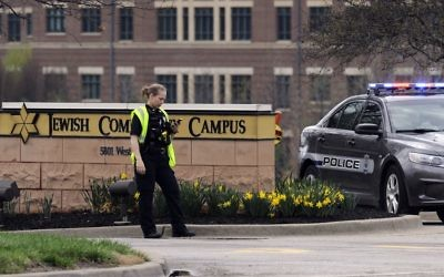 Police at the Jewish Community Center of Greater Kansas City in Overland Park, Kansas. Photo: REUTERS