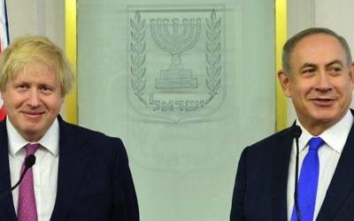 Prime Minister Benjamin Netanyahu met with UK Foreign Secretary Boris Johnson today. Photo by Kobi Gideon (GPO)