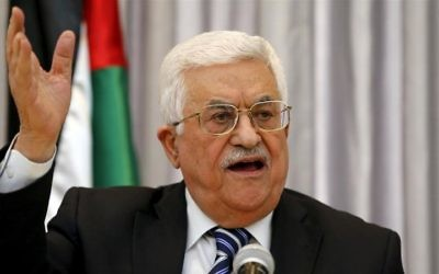 Palestinian President Mahmoud Abbas gestures as he delivers a speech in the West Bank city of Bethlehem.