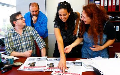 Australian Jewish News manager Rod Kenning and editor Zeddy Lawrence with Ravit Glance and Hallely Kimchi from Etonchik. Photo: Petert Haskin