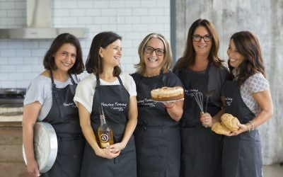 Monday Morning Cooking Club members (from left) Lynn Niselow, Merelyn Clamers, Lisa Goldberg, Jacqui Israel and Natanya Eskin. Photo: Alan Benson