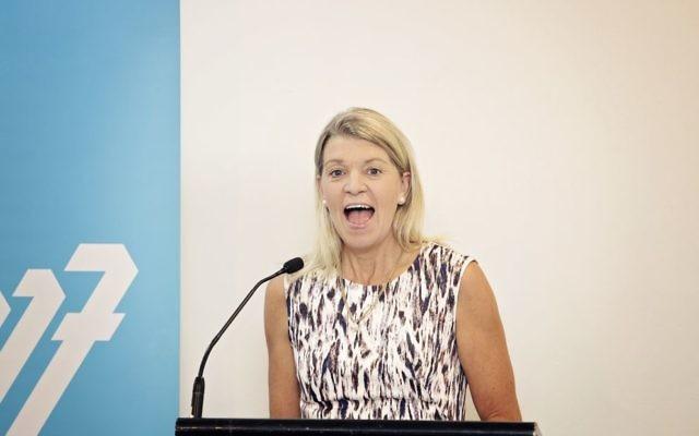 AOC chef de mission Kitty Chiller addresses the Australian Maccabiah leadership summit. Photo: Julie Kerbel