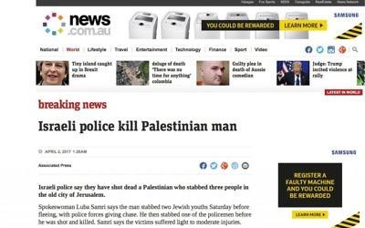 The headline used by news.com.au. (Screenshot)