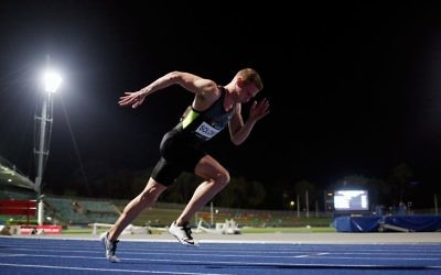Steven Solomon on his way to victory in the men's 400m open final at the 2017 National Athletics Championships in Sydney on April 1. Photo: Athletics Australia / Getty Images